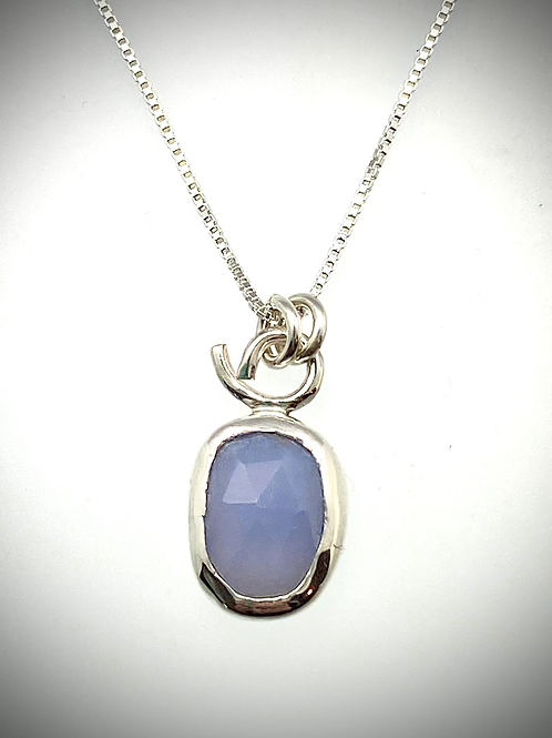 Sterling Faceted Blue Chalcedony Necklace