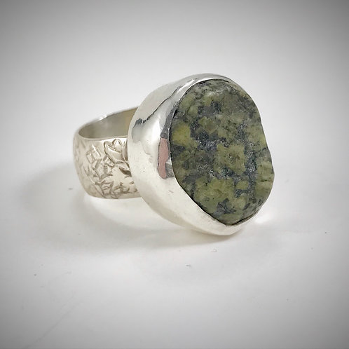Sterling Green Maine Beach Stone Ring