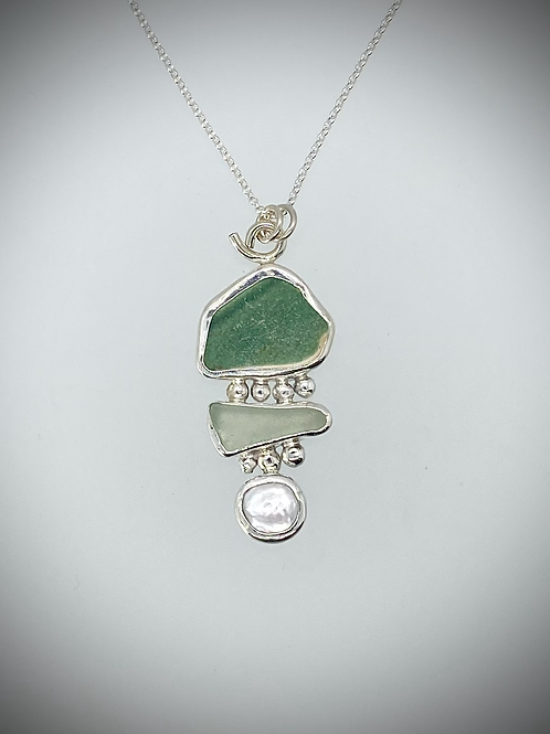 Sterling Piece of Maine Sea Pottery, Sea Glass and Pearl Bauble Necklace