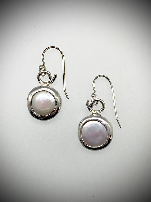 Sterling Freshwater Coin Pearl Earrings