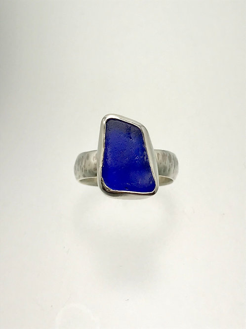 Sterling and Colbalt Blue Sea Glass Ring