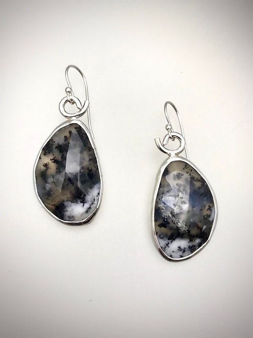 Sterling Faceted Dendritic Agate Earrings