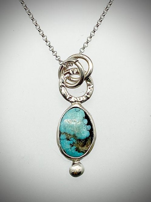 Sterling Bauble Necklace with Turquoise