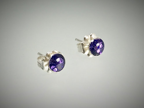 Sterling Small Post Earrings with Large Purple Metal Flakes