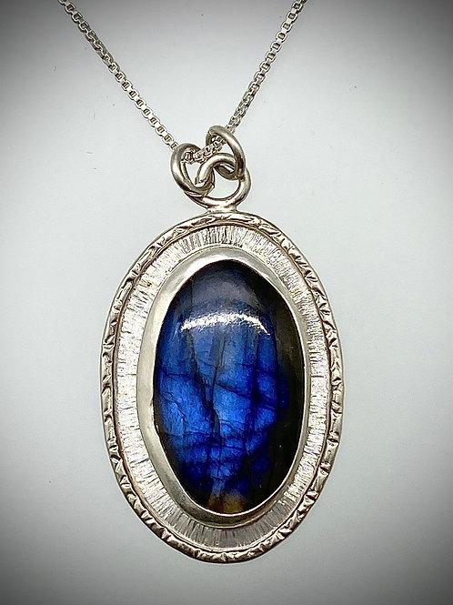 Sterling and blue Labradorite Frame Necklace