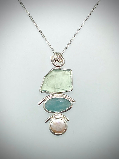 Sterling Piece of Maine Sea Glass, Aqua Marine and Pearl Necklace