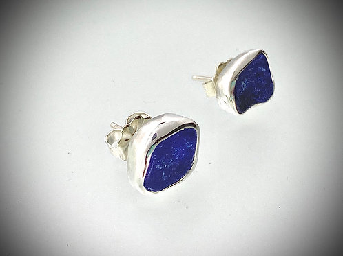 Sterling Post Earrings with Blue Maine Sea glass