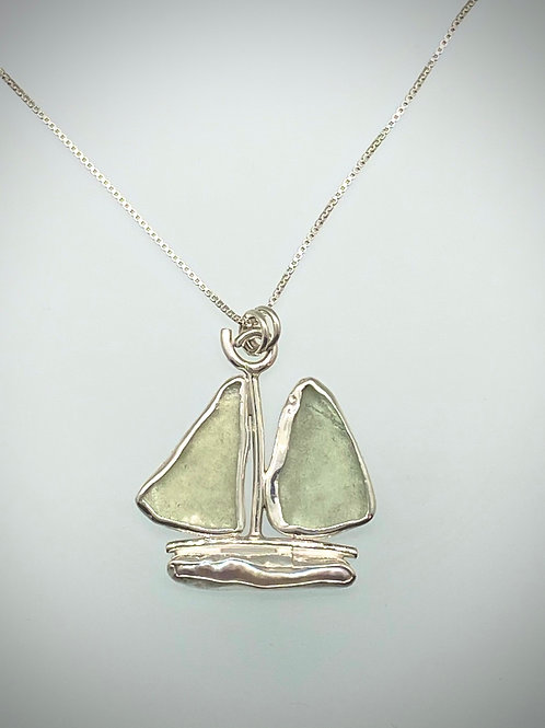 Sterling Piece of Maine Seaglass and Pearl Boat Necklace