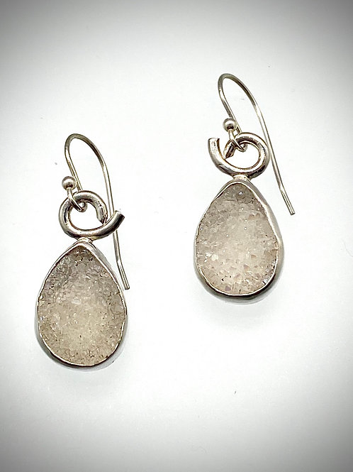 Sterling Silver Earrings with White Druzy Stones