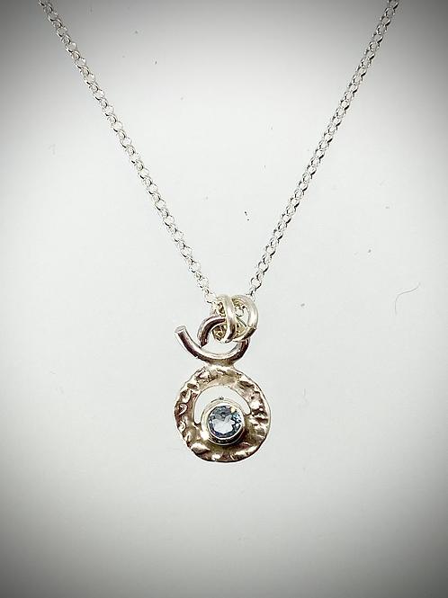 Sterling Tiny Blue Topaz Circle Necklace
