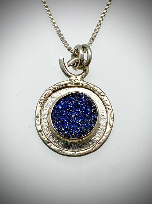 Sterling and Navy Blue Druzy Frame Necklace