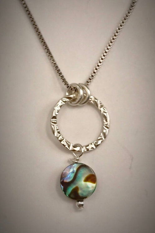Sterling Small Circle Necklace with Abalone