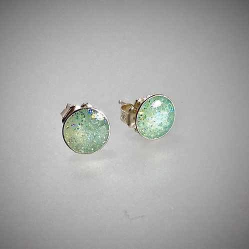 Sterling Large Resin Post Earrings In Mint Green