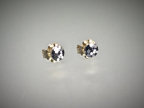 Sterling Small Resin Post Earrings with Large Silver Metal Flakes