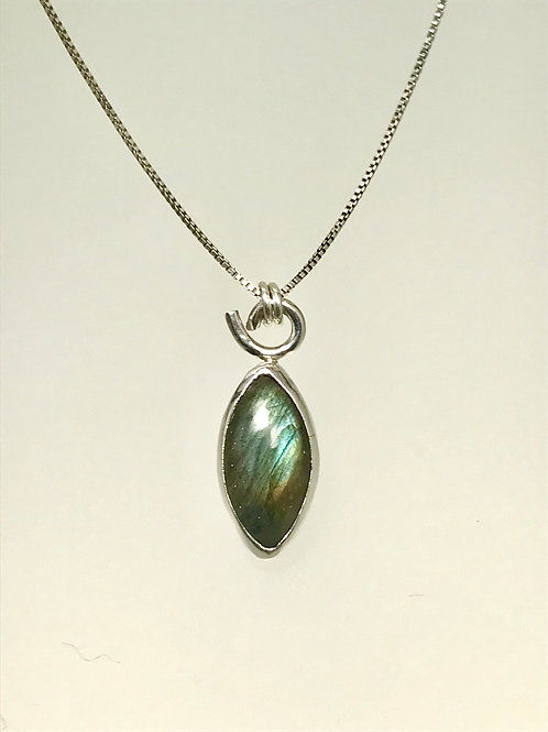 Sterling and Marquis Shaped labradorite Necklace