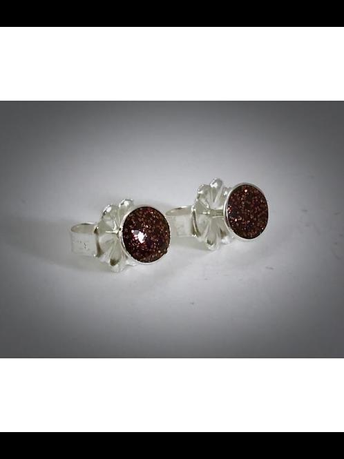 Sterling Small Chestnut Brown Resin Post Earrings