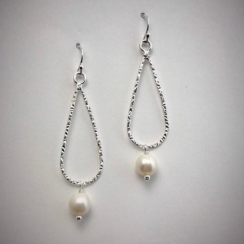 Sterling Medium Teardrop Earrings with Freshwater Pearls