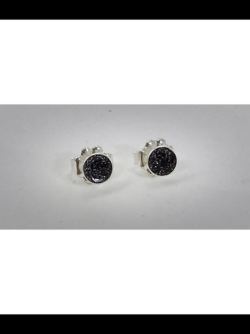 Sterling Small Charcoal Resin Post Earrings