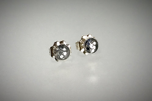 Sterling Small Post Resin Earrings with Large Metal Charcoal Flakes