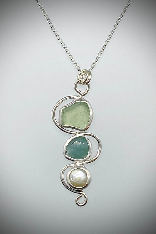 Sterling Piece of Maine sea glass, Aqua Marine and Freshwater Pearl Necklace
