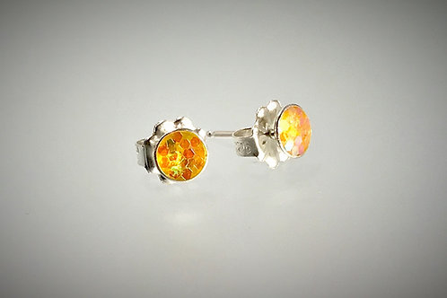 Sterling Small Resin Post Earrings with Large yellow Metal Flakes