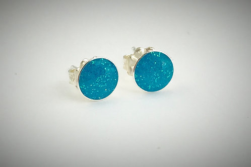 Sterling Large Turquoise Resin Post Earrings