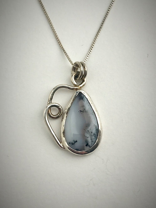Sterling Dendritic Agate Swirl Necklace