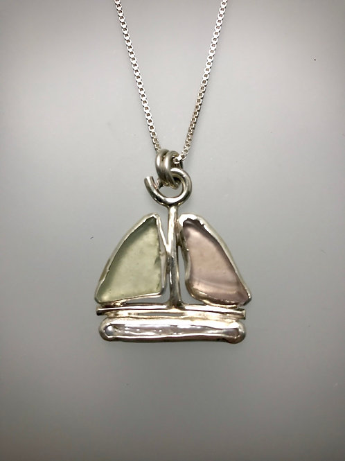 Sterling Piece of Maine Sailboat Necklace