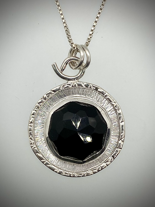 Sterling and Faceted Black Onyx Frame Necklace