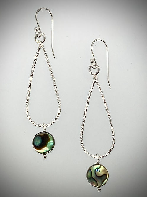 Sterling Medium Teardrop Earrings with Abalone