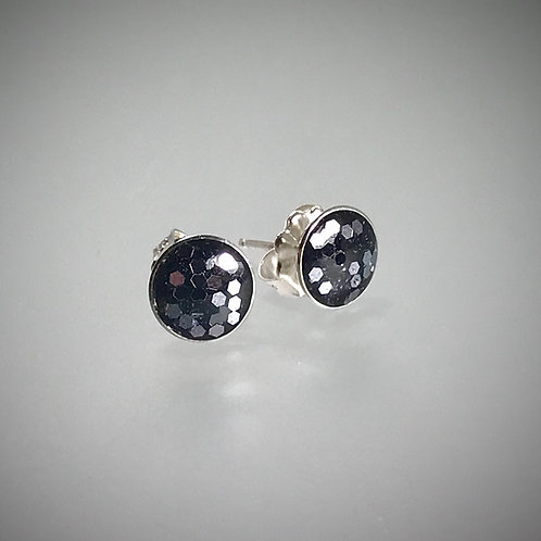 Sterling Large Charcoal Flake Resin Post Earrings