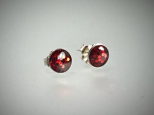 Sterling Large Metal Flake Cherry Resin Earrings