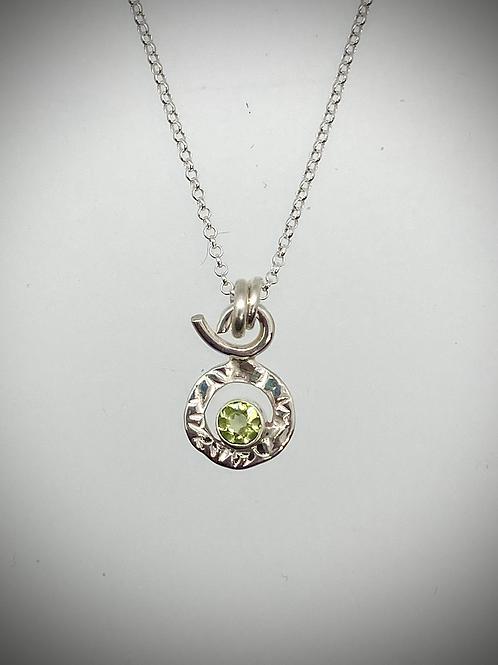 Sterling Peridot Tiny Circle Necklace