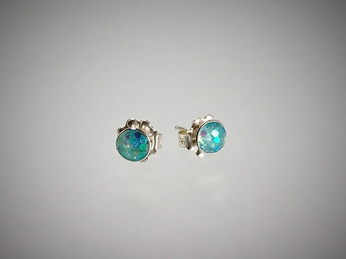 Sterling Small Post Resin Earrings with Large Light Turquoise Metal Flakes