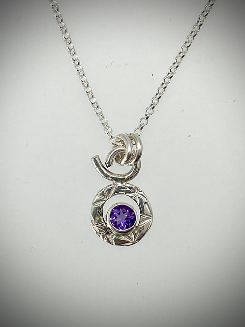 Sterling Tiny Amethyst Circle Necklace