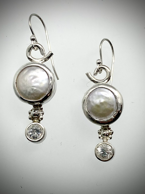 Sterling Snowflake  Earrings with Freshwater Coin Pearls and Faceted White Topaz