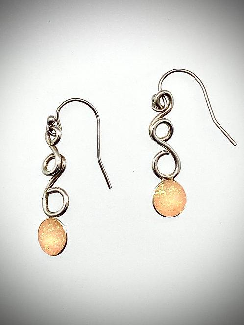 Sterling Light Pink Resin Swirl Earrings