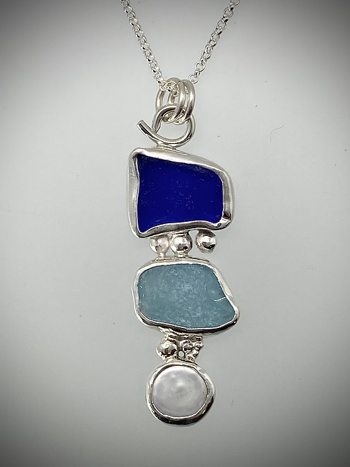 Sterling Piece of Maine Sea Glass and Pearl Necklace