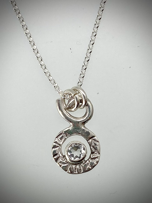 Sterling Tiny White Topaz Circle Necklace