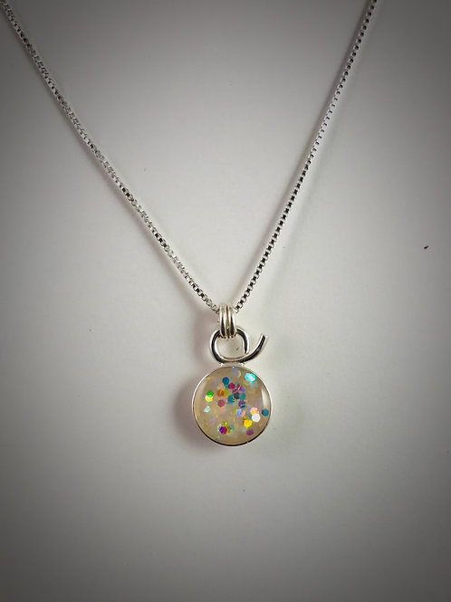 Tiny Sterling White Resin Necklace