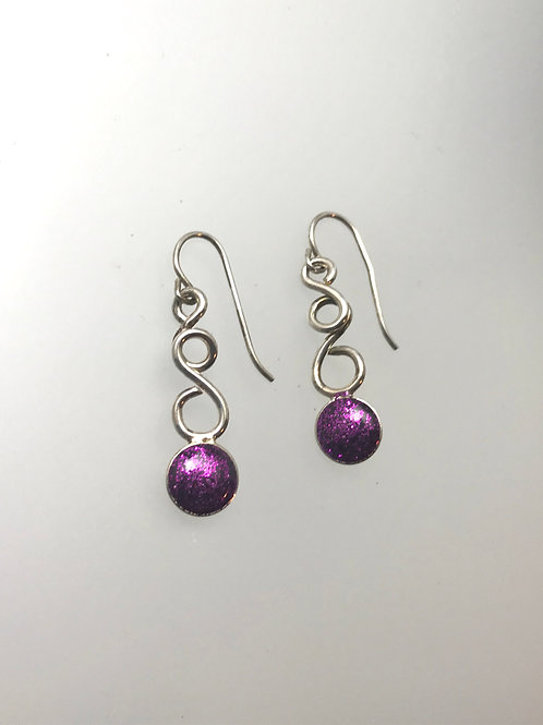 Sterling Grape Resin Swirl Earrings