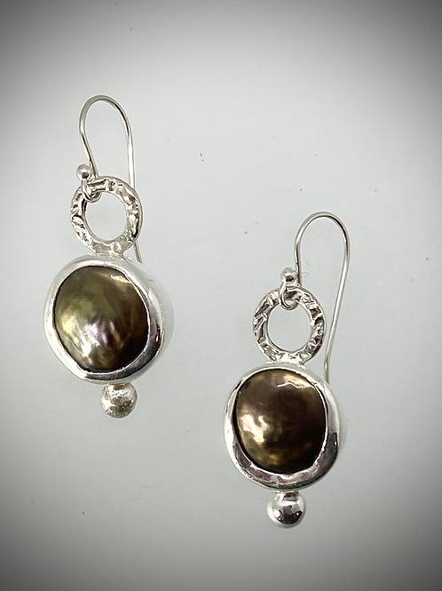 Sterling Brown Freshwater Pearl Bauble Earrings