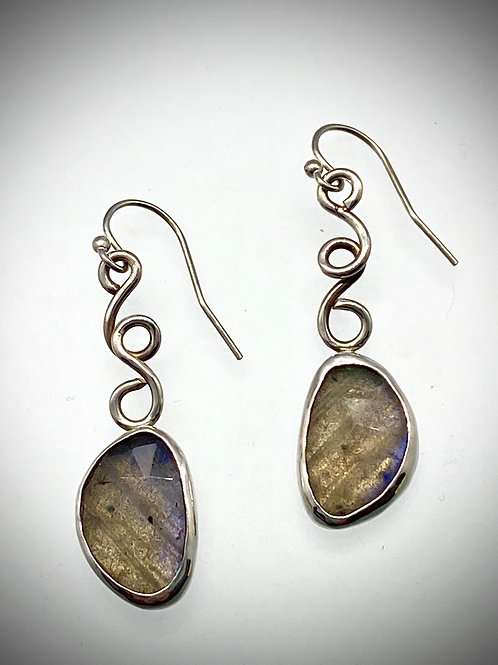 Sterling Faceted LabradoriteSwirl Earrings