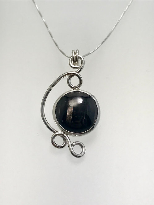 Sterling and Hypersthene Swirl necklace