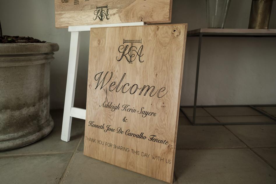 Ash & Ken Wood Engraved Welcome Sign