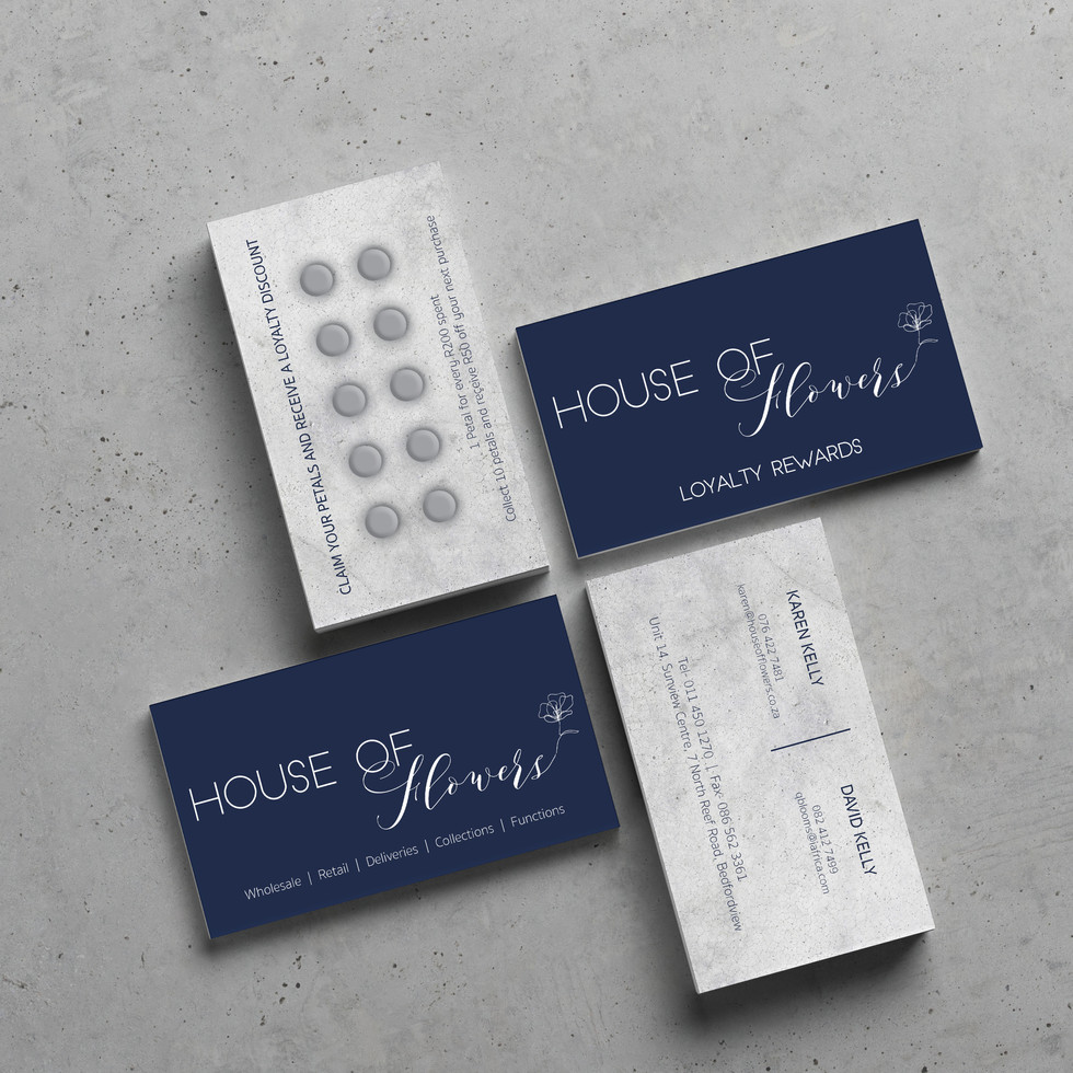 House of Flowers Business Cards and Loyalty Cards