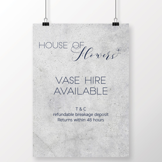 House of Flowers Vase Sign