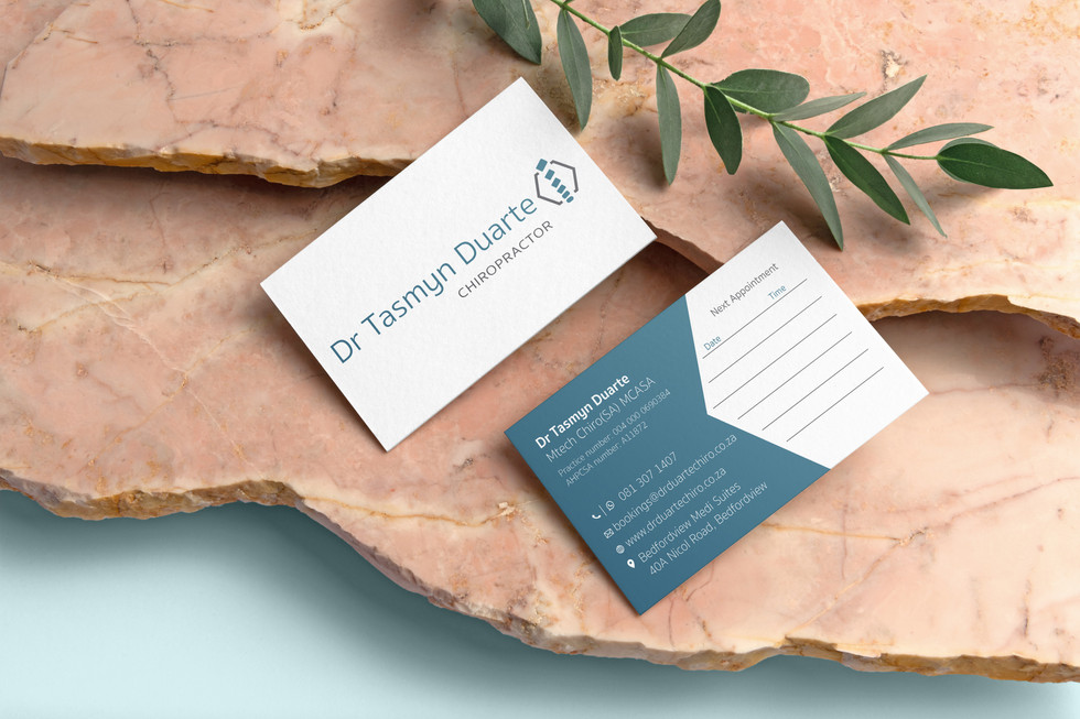 Dr Tasmyn Duarte Chiropractor Business Cards