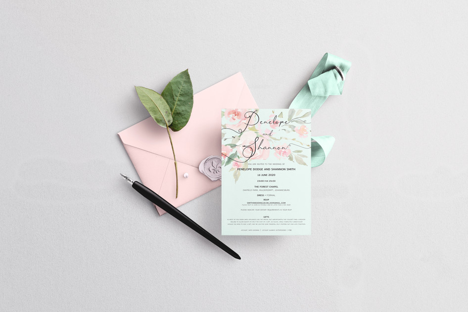 Mint and Pink Save The Date