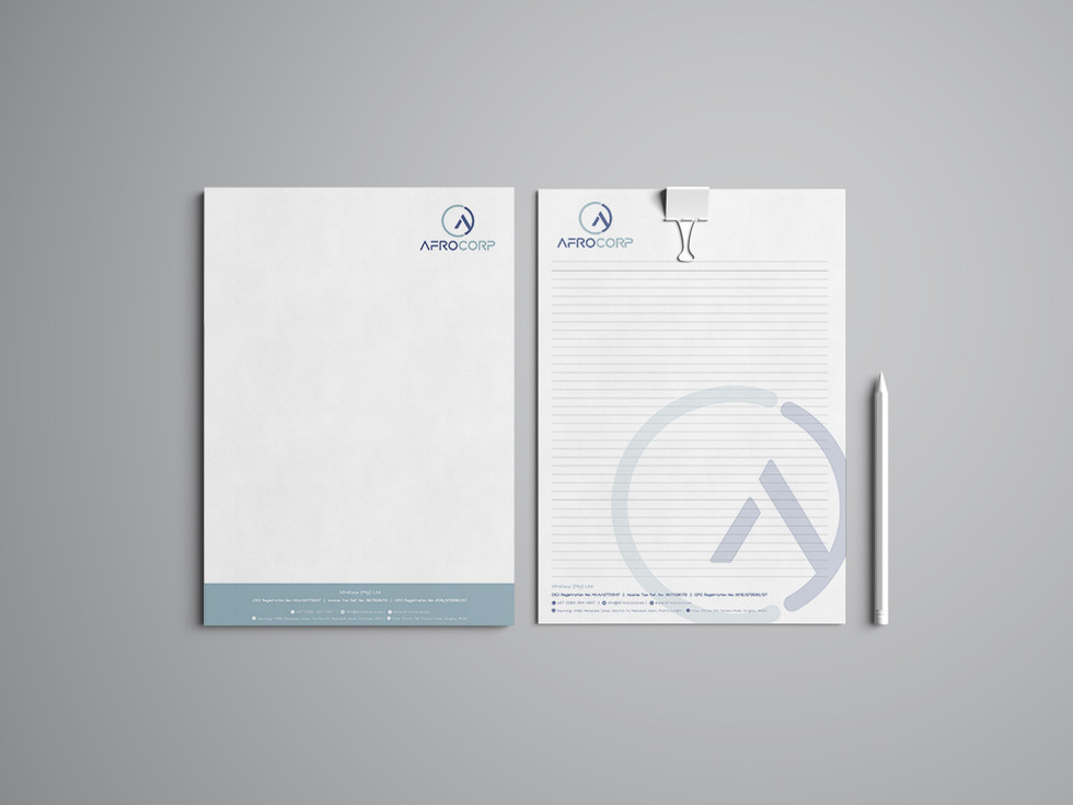 AfroCorp Letterhead & Notebook